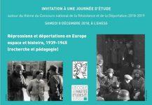 Répressions et  déportation en Europe 1939 – 1945  – Journée d'étude le 8  décembre  2018