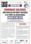 Hommage aux fusillés du mont-Valérien -25 mai 2019